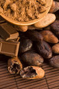 Cocoa cacao beans on natural wooden table Stock Images