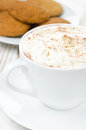 Cocoa with cinnamon and whipped cream oatmeal cookies in the background close up Stock Photography