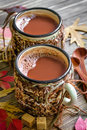 Cocoa drink on a wooden table Stock Photography