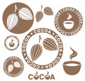 Cocoa set isolated objects on white background vector illustration eps Royalty Free Stock Photography