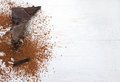 Cocoa solids and cocoa powder chocolate ingredients Royalty Free Stock Photo
