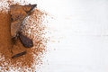 Cocoa solids and cocoa powder chocolate ingredients selective focus Royalty Free Stock Photos