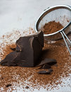 Cocoa solids and cocoa powder close up Stock Image