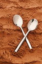 Cocoa spoons two on top of powder Stock Images