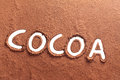 Cocoa written with cocoa powder Royalty Free Stock Photo