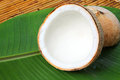 Coconut with banana leaves Royalty Free Stock Photos