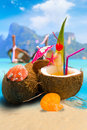 Coconut on the beach in phi phi island thailand Stock Images