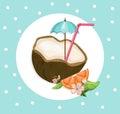 Coconut cocktail drink Summer refreshment. Vector Vintage background illustration