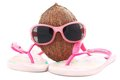 Coconut concept for travel agency with sunglasses and beachwear Stock Photo