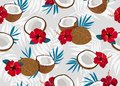 Coconut fruits seamless pattern whole and piece with blue leaves on gray background. Summer background.