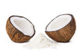 Coconut halves two of with some ground in between isolated on white Stock Photo