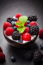 Coconut ice cream with fresh fruits and mint Stock Photography