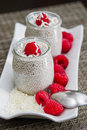Coconut milk chia pudding seed Stock Image