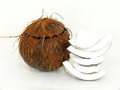 Coconut open on white background Stock Photography