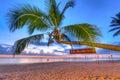 Coconut palm tree at sunset on Koh Kho Khao island Royalty Free Stock Photo