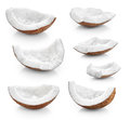 Coconut pieces isolated on a white background. Royalty Free Stock Photo