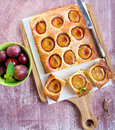 Coconut and plum cake sliced Royalty Free Stock Photography