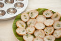 Coconut pudding is a kind of thai sweetmeat khanom krok sweet and savory grilled rice pancakes using milk mix with powder fried on Stock Images