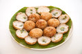 Coconut pudding is a kind of thai sweetmeat khanom krok sweet and savory grilled rice pancakes using milk mix with powder fried on Stock Photos