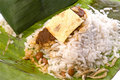 Coconut Rice in Banana Leaf Stock Images