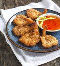Coconut shrimp. Butterfly shrimp in a crunchy coating Royalty Free Stock Photo