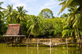 Coconut trees beside a pond view of with wooden bridge collapsed across the water to the cottage Royalty Free Stock Photography