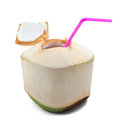 Coconut water drink isolated on white Royalty Free Stock Photo