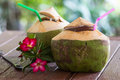 Coconut water drink is placed on the table and refreshment Royalty Free Stock Images