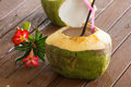 Coconut water drink is placed on the table and refreshment Royalty Free Stock Photo