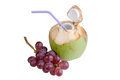 Coconut water drink and red grapes Royalty Free Stock Photo