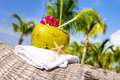Coconuts on the beach coconut with drinking straw a palm tree at sea Royalty Free Stock Images