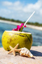 Coconuts on the beach coconut with drinking straw a palm tree at sea Royalty Free Stock Image