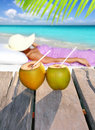 Coconuts woman sun tanning topical beach Royalty Free Stock Photo