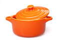 Cocote orange casserole dish or crock pot isolated on white Stock Image