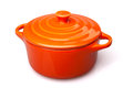 Cocote orange casserole dish or crock pot on white clipping path included Stock Photography
