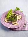 Cod fillet parsley anchovy capers Royalty Free Stock Photo