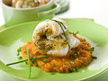 Cod fillet stuffed with herbs Royalty Free Stock Photos