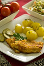 Cod fish fillet with potatoes dinner dish of Stock Images