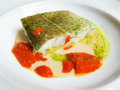 Cod in green sauce basque cookery and tomato Stock Image