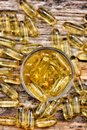 Cod liver oil capsules close up of Royalty Free Stock Photo