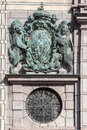 Code of arms hofgarten munich a bronze with two lions in bavaria germany Royalty Free Stock Images