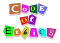 Code of ethics words in collage cutouts isolated on white Royalty Free Stock Image