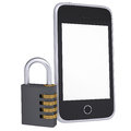 Code lock near smartphone isolated render on a white background Royalty Free Stock Photos