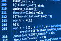 Coding programming source code screen. Royalty Free Stock Photo