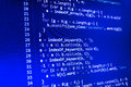 Coding programming source code screen. Colorful abstract data display. Software developer web program script.