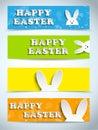 Coelho feliz bunny set da páscoa das bandeiras Fotos de Stock