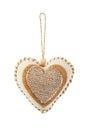 Coeur décoratif de tissu d'isolement Photographie stock libre de droits