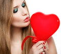 Coeur de baiser blond du Day.Beautiful de Valentine Images libres de droits