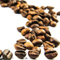 Cofee beans trace on white background Royalty Free Stock Images