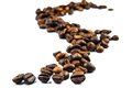 Cofee beans trace on white background Stock Image